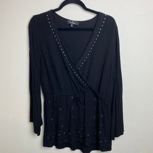 Lulu's Black Beaded Wrap V Neck Top
